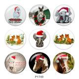 20MMクリスマスホースエレファントプリントガラススナップボタン