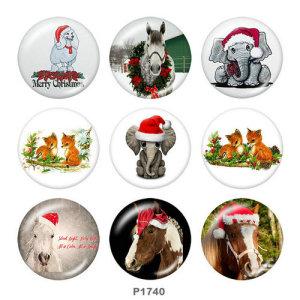 Стеклянные кнопки с изображением рождественской лошади и слона 20 мм