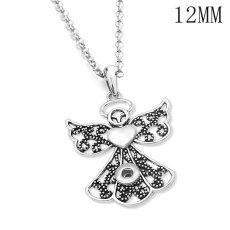 Liebe Engel Kreuz Halskette 80CM Kette Silber passen 12MM Brocken Druckknöpfe Schmuck Halskette für Frauen