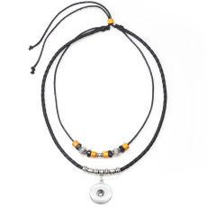 ヨーロッパとアメリカの人気のあるヴィンテージネックレス、隠されたシルバーレザーコードの編みこみのネックレスは18mmのスナップチャンクにフィットします