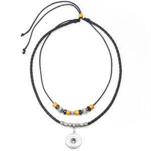 Европейское и американское популярное винтажное колье, плетеное ожерелье из скрытого серебряного кожаного шнура подходит для 18-миллиметровых кусочков