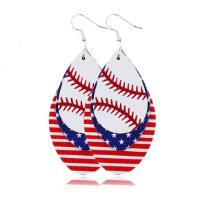 Многослойные кожаные серьги с бейсбольным флагом
