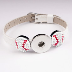Béisbol 1 botones de cuero nuevo tipo Pulsera Diamante de imitación en forma de trozos a presión de 20 mm