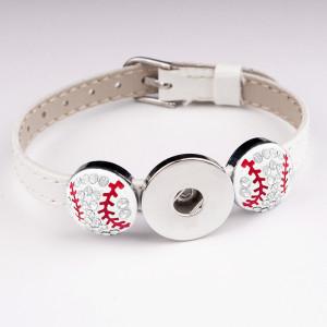 Бейсбол 1 кнопки кожаный новый тип браслет со стразами подходят куски 20 мм защелки