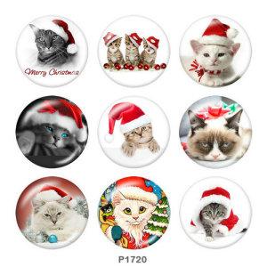 Boutons pressions en verre imprimé chat de Noël 20MM