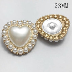 23MM metal love heart pearl peach heart gold plated snap charms fit 20mm snap jewelry