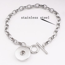 Stainless steel 1 buttons snap silver bracelet fit snaps jewelry