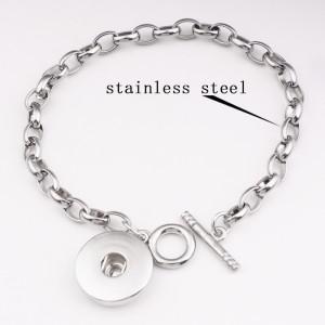 Серебряный браслет из нержавеющей стали с 1 кнопками подходит для украшений с защелками