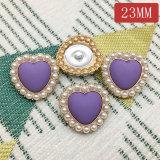 23MM metal amor corazón perla melocotón corazón chapado en oro encantos a presión encajan 20 mm joyería a presión