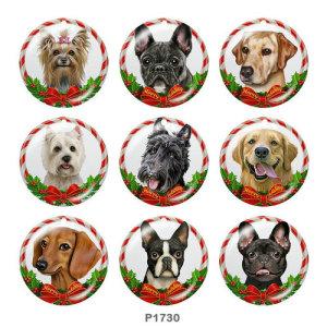 Стеклянные кнопки с рождественским принтом собак 20 мм
