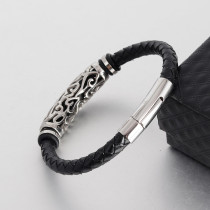 20.5CM Men's 6MM Bracelet Leather Cord Braided Jewelry Stainless Steel Bracelet Leather Magnet Clasp