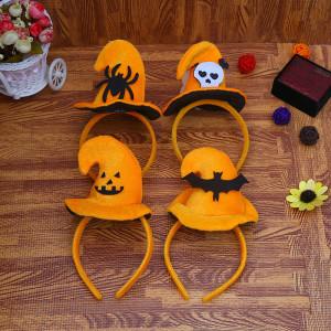 23 * 11.5CM Halloween bandeau sorcière pointe noire chapeau fantôme festival spectacle fête habiller accessoires danse fête décoration tête boucle assistant chapeau