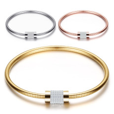 Stainless steel lady's snake chain bracelet, exquisite diamond-studded magnet clasp bracelet
