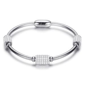 ステンレス鋼ワイヤーロープ磁気バックルダイヤモンドブレスレット