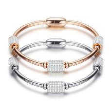 Stainless steel wire rope magnetic buckle diamond bracelet