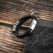 20.5CM Black leather cord cowhide men's double-layer stainless steel leather braided bracelet