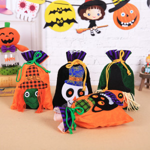 27*15CM Halloween decoration candy bag velvet gift bag children's ghost festival portable pumpkin witch bag party holiday supplies