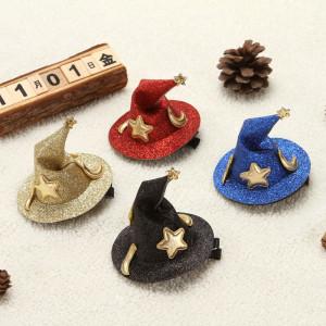 7.5*6.5 CM Halloween chapeau courbé en épingle à cheveux partie petit chapeau haut de forme accessoires bricolage chapeau de sorcière petit chapeau pointu accessoires pour cheveux