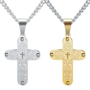 ステンレス鋼の十字に刻まれた経典ペンダントネックレス