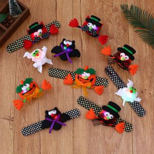 21 * 9CM Nouveaux paillettes d'Halloween rougeoyante citrouille chauve-souris fantôme clap anneau bracelet jouet pour enfants cadeaux d'Halloween