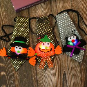 21*13.5 CM Nouveau Halloween Paillettes Lumineuses Cravate Halloween Party Props Cadeaux Lumineux Pour Enfants Ball Show Jouets
