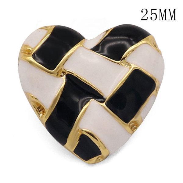 Los encantos a presión chapados en oro de esmalte blanco y negro de metal de 25 mm se ajustan a la joyería a presión de 20 mm