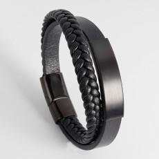21CM Stainless Steel Leather Woven Bracelet Handmade Multilayer Leather Bracelet Jewelry