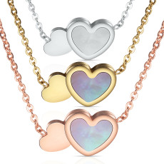 Double love stainless steel plating rose gold color gold clavicle shell necklace    necklace for women