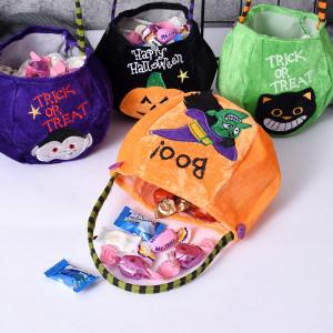 25*13CM Halloween candy bag decoration portable pumpkin bag kindergarten children candy scene layout gift bag cloth bag