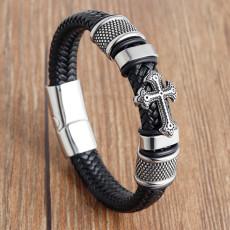 20.5CM Leather Handmade Bracelet Leather Woven Cross Men's Leather Bracelet Retro Stainless Steel Leather Cord