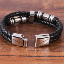 21CM Black leather cord cowhide men's double-layer stainless steel leather braided bracelet