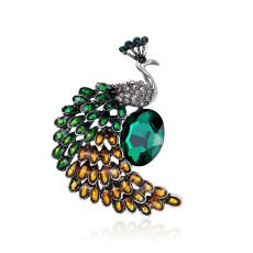 Broche paon mode rétro personnalité alliage diamant broche broche créative