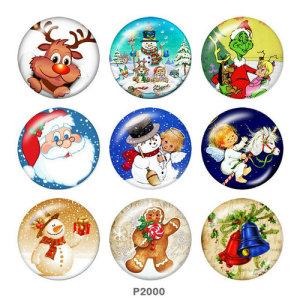 20MM Noël Santa Claus Deer Print boutons pressions en verre