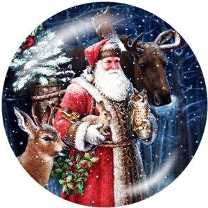 Boutons pressions en verre imprimé bonhomme de neige avec cerf de Noël 20MM