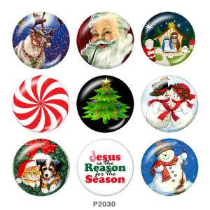 20MM Noël Snowman Deer Print boutons pressions en verre