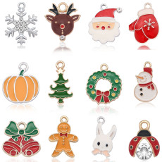 2CM Alloy Christmas christmas tree halloween pumpkin ladybug bunny Pendant Necklace Bracelet Accessories