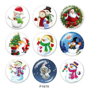 20MM Noël Père Noël Bonhomme de neige Imprimé boutons pressions en verre