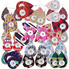 10 paires/lot envoyer au hasard différents styles de boucles d'oreilles en cuir de haute qualité pour des morceaux de boutons-pression de 20 mm