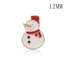 12MMクリスマスデザインメタルシルバーメッキスナップチャームマルチカラー