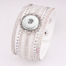 1 botones de cuero nuevo tipo Pulsera con diamantes de imitación en forma de trozos a presión de 20 mm