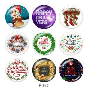 20MM Noël Père Noël Imprimé boutons pressions en verre