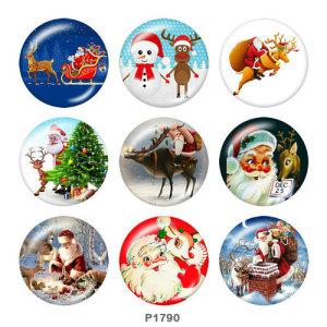 20MM Noël Cerf Père Noël Imprimé boutons pressions en verre