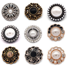 20MM High quality metal pearl rhinestones gold plated snap charms fit 20mm snap jewelry
