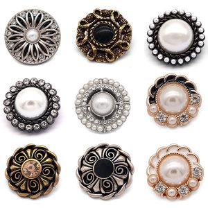 20 MM de haute qualité en métal perle strass plaqué or breloques pression s'adapter à 20 mm snap bijoux