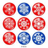 20MM Weihnachtsschneeflocke Print Glasdruckknöpfe