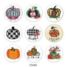 20MM Thanksgiving-Kürbis-Druck-Glas-Druckknöpfe