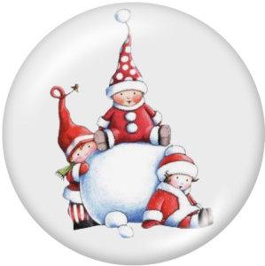 Boutons pressions en verre imprimé Noël 20MM