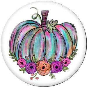 20MM感謝祭パンプキンプリントガラススナップボタン