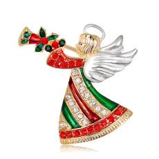 Broche de Noël avec trompette ange soufflant