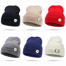 New style hood, autumn and winter knitted hat, men's and women's woolen hat fit 18mm snap button